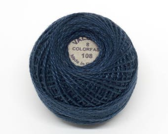 Valdani Pearl Cotton Thread Size 8 Solid: #108 Dusty Navy
