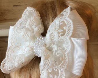 White lace bow with pearls. Christening / Holy Communion / Wedding / Bridesmaid