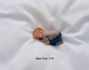 Baby boy with Polymer Clay figurine
