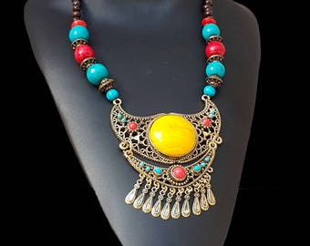 """Ethnic necklace with """" INCA""""  inspiration"""