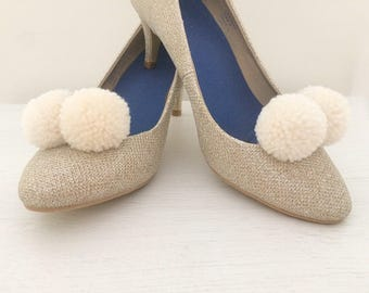 Pom pom shoe clips - bridesmaid, wedding shoe accessory - made to order in any colour