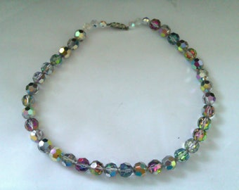 rainbow effect crystal bead necklace