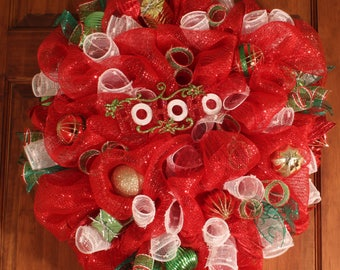 Red and White HOHOHO Christmas Wreath