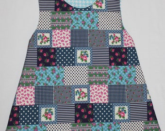 reversible dress 18/24 m blue/pink patchwork pattern and light turquoise blue