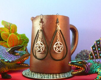 Earrings Creole drops, beads and silver pentacle