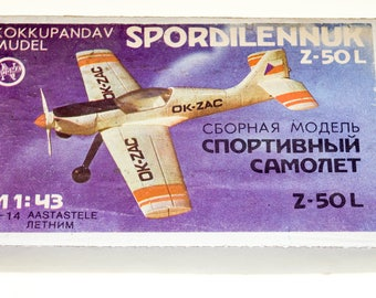 Vintage Russian Toy Norma Plastic Box Model airplane Z-50L 1989s