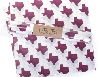 Food Basket Liner, Food Safe Wax Paper {Texas in Aggie Maroon}