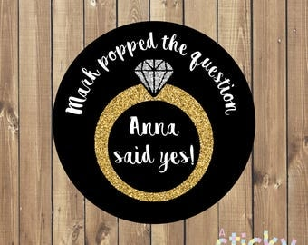 Personalized Engagement Stickers, He Popped the Question Stickers, Engagement Party Favor, Popped the Question, Engagement Party, Popcorn