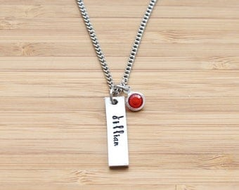 hand stamped necklace | name + birthstone