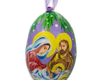 """3"""" Mary and Joseph Overlooking Jesus Wooden Christmas Ornament"""