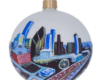 "3.25"" Houston, Texas Glass Ball Christmas Ornament"