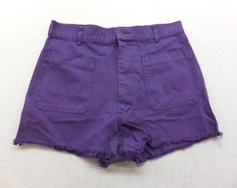 Upcycled NavDungaree Purple Wash Denim Cut Off High Waisted Jean Shorts 30 inch Waist