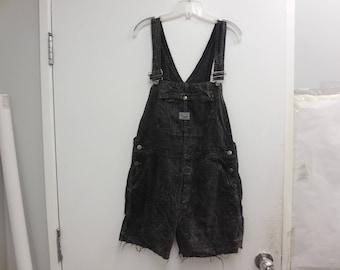 Upcycled Vintage Womens Black Bleach Splattered  Wash Denim Cut of Overalls Size Medium
