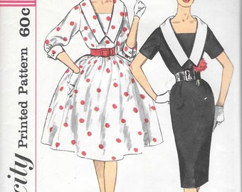 Vintage 1950s Simplicity 3320 Sheath Wiggle Dress Full Skirt Oversize Sailor Collar Sewing Pattern Size 12 Bust 32