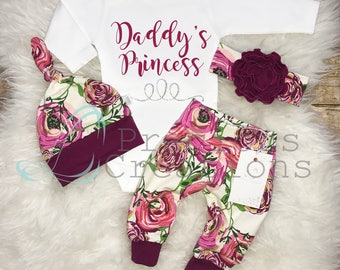 Baby Girl Coming Home Outfit  Newborn Girl Outfit Daddy's Princess Outfit  Baby Shower Gift Magenta Floral Outfit Baby Girl Clothes