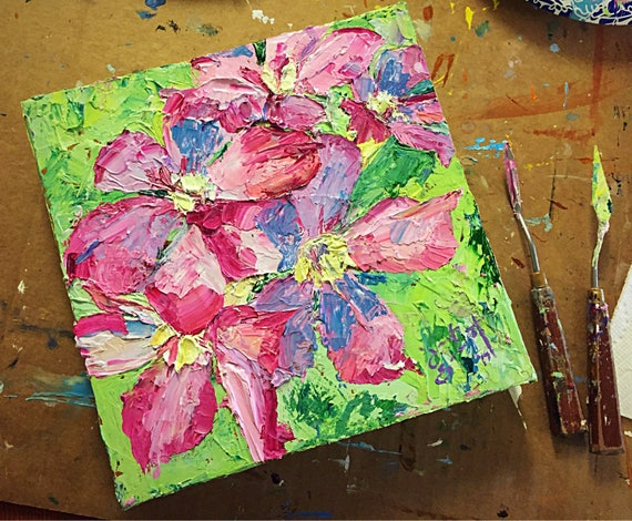 """Abstract Flowers Series - Untitled - 10""""x10"""" - Acrylic on Canvas"""