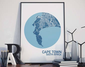 Cape Town, South Africa City Map Print