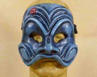 Blue Harlequin - Commedia dell'Arte mask in papier maché