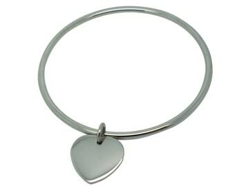 Steel heart charm Bangle Bracelet