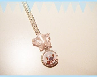 ♥ OWL cabochon necklace OWL adorned with a Pearl star ♥