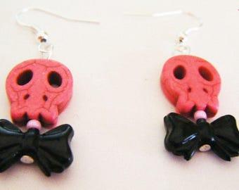 Pink skull and bow tie kawaii earrings ♥