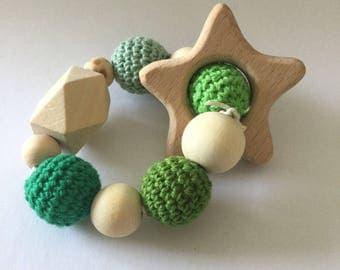 Green star wooden beads rattle