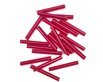 set of 20 small red glass tubes