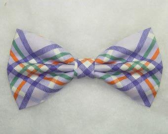 Lightly Lavender Diagonal Plaid Pre-tied Bow Tie | Plaid bow ties | Orange lines | Green lines | Wedding bow ties | Last one!
