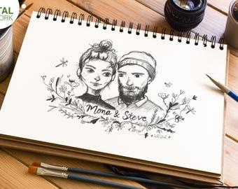 Custom Portrait, Couple Portrait, Valentines Gift, Anniversary Gift, Family Portrait, Digital illustration, Birthday Gift, Romantic Gift