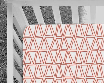 Red Crib sheet, Triangle Pattern, red triangles crib Sheet, red bedding, triangles and blue nursery, shapes, baby bedding, fitted crib sheet
