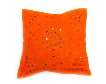 Indian Pure Cotton Cushion Cover Home Mirror Work Decorative Orange Color Size 17x17""