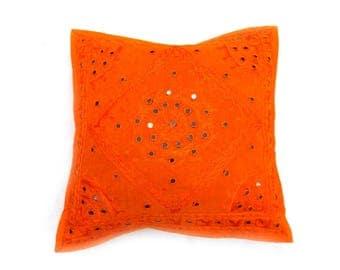 "Indian Pure Cotton Cushion Cover Home Mirror Work Decorative Orange Color Size 17x17"""