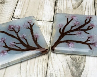 Fused glass coaster, glass coaster set, cherry blossom, Mother's Day gift, girlfriend gift, gift for her, gift set, gift