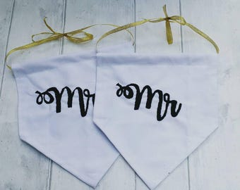Wedding chair signs, mr and mrs, mr and mr, mrs and mrs, hand embroidered, hanging banners, wedding keepsake, bedroom decor, personalised