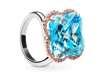 Sparkling Blue Topaz Flower Ring