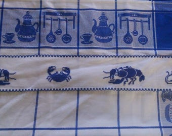 Handmade crab embroidered towel