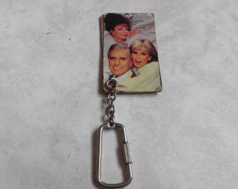 Vintage Keychain Dynasty- Old Keychain with cast of 80's TV Show Dynasty/ Old key ring