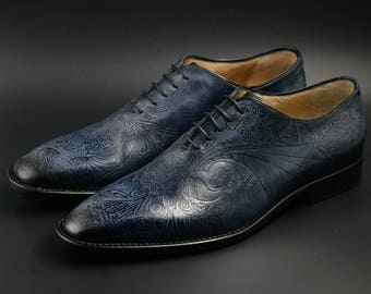 Leather men shoes, navy blue, Pyrograph, Oxford, hand painted, made in Italy, personalized