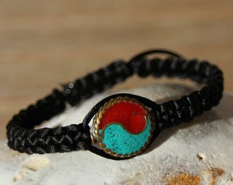 shamballa bracelet with Tibetan turquoise and coral bead