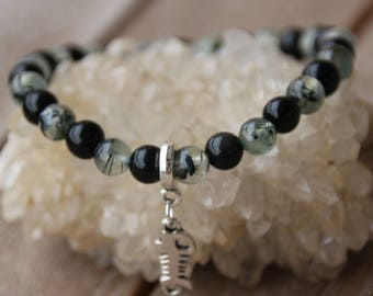 Obsidian and prehnite 6 mm bracelet