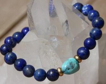 lapis lazuli and larimar Bead Bracelet