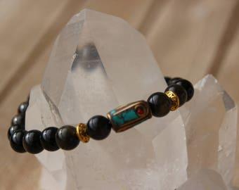 Golden Obsidian Bead Bracelet