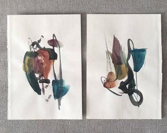 Watercolor Abstract, No. 1 & 2
