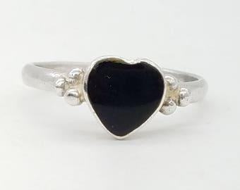 Heart Shaped Black Onyx Vintage Statement Ring - Size 5.75