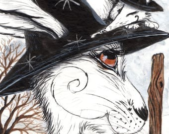 Up on the Brim - SIGNED A4 Archival Print. -  whimsical, magical, fantasy, Halloween, Snow - Matlock the Hare art print.