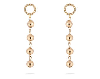 Halo Draped Pearl Earring-limited earrings-Gold