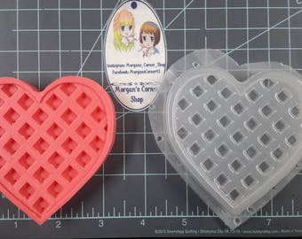 Medium Heart Waffle Plastic Mold, food mold, bath bomb mold, soap mold, breakfast mold, waffle mold, resin mold, wax mold, heart mold, love