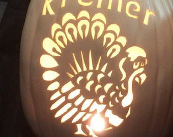 "13""Thanksgiving Turkey with your family's names carved into it.   you pick Soft White  or Orange"