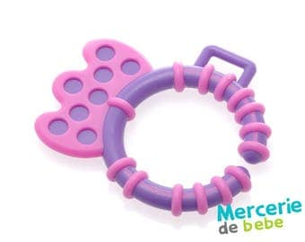 Grip or hook for baby toy - purple and pink