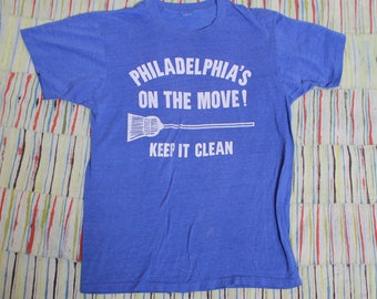Vintage 70s 80s Philadelphia On the Move Keep it Clean Liberty Bell 50/50 Tee Shirt, Size Medium